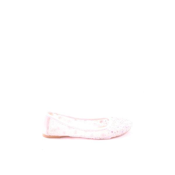 AF Ballerinas mit Spitze pink Webmuster Casual-Look