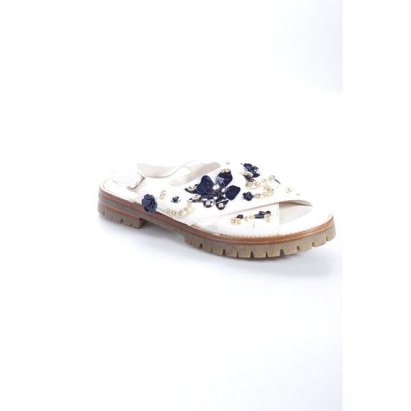 AGL Sandalen weiß-dunkelblau Blumenmuster Dekoelemente