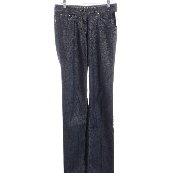 Airfield Straight-Leg Jeans dunkelblau-goldfarben Glitzer-Optik