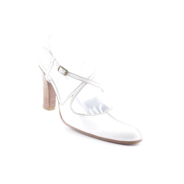 Alberto Fermani Riemchen-Sandaletten weiß-braun schlichter Stil