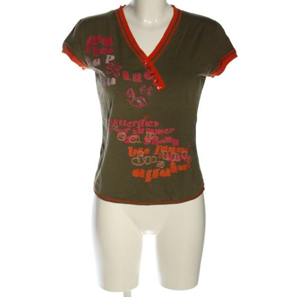 ALDO MARTIN'S V-Ausschnitt-Shirt Schriftzug gedruckt Casual-Look