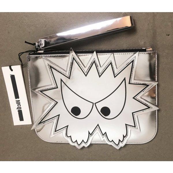 * ALEXANDER McQUEEN * NEU ! CLUTCH LEDER silber metallic  Angry Bird