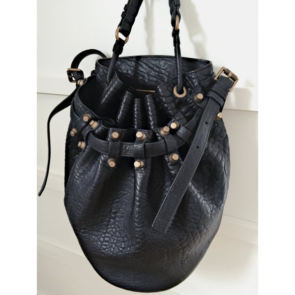 Alexander Wang Diego Black Pebble Lamb Bucket Bag