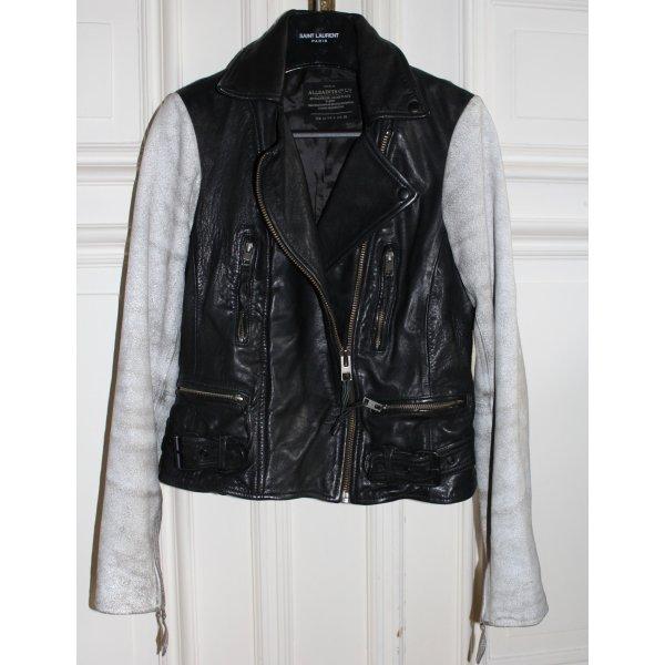 All Saints Lederjacke schwarz grau Vintagelook Gr. 36 38
