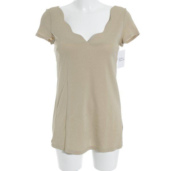 Amazone T-Shirt beige Glitzer-Optik