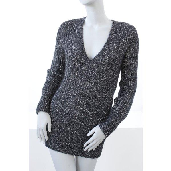 AMBIENTE langer Woll Pullover mit Lurex *schwarz-silber*