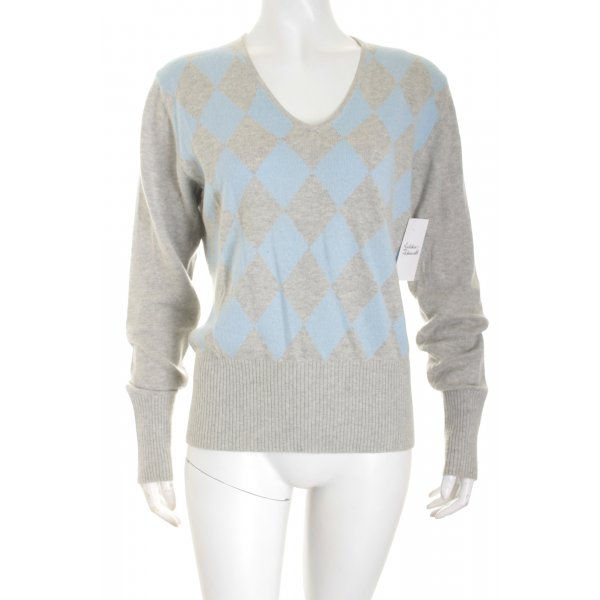 Ambiente V-Ausschnitt-Pullover hellgrau-himmelblau schlichter Stil