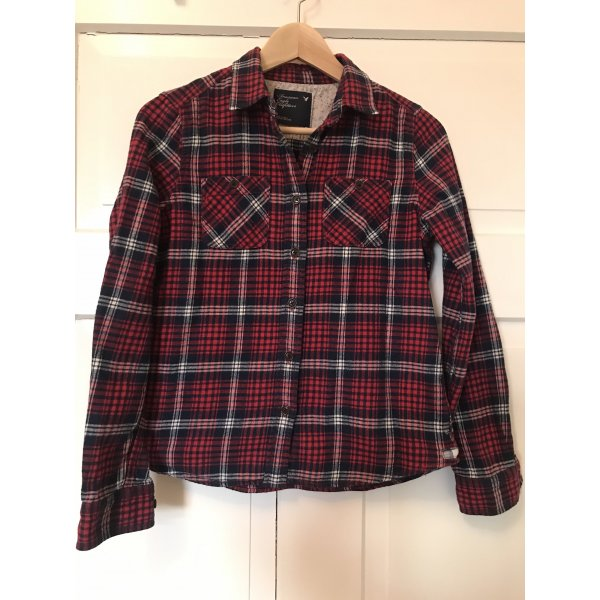 American Eagle Outfitters Holzfällerhemd Flanellhemd 34 xs Kariert Karo rot blau weiß