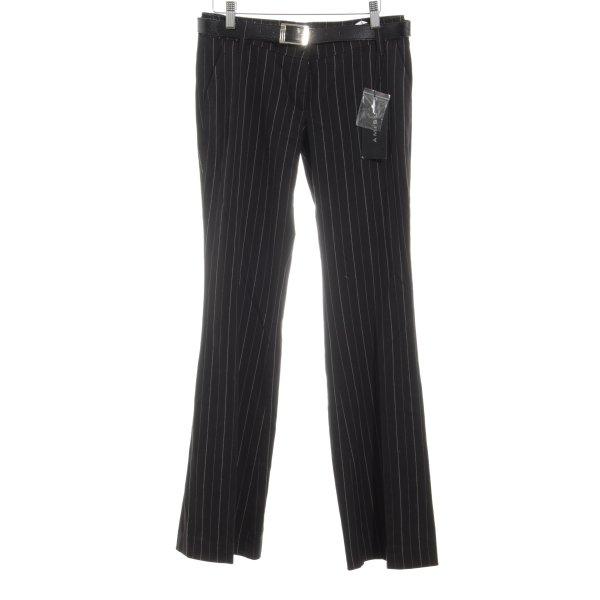 Amisu Anzughose schwarz-weiß Streifenmuster Business-Look