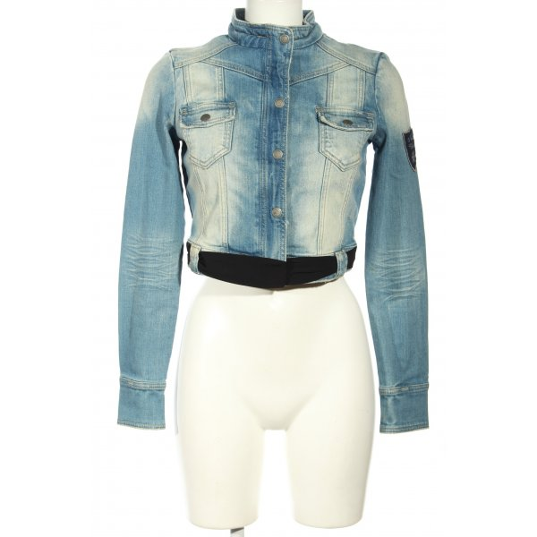 Amisu Jeansjacke blau-weiß Casual-Look