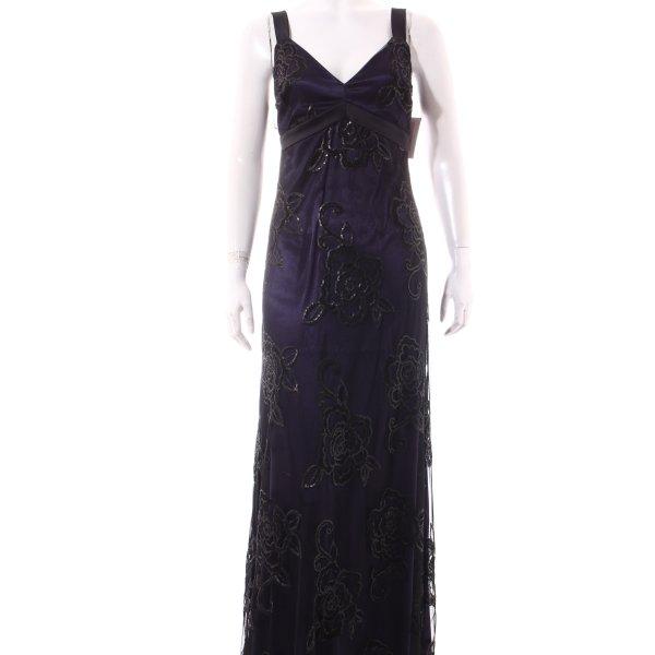 Ana Alcazar Abito da sera nero-viola scuro Ornamenti con lustrini