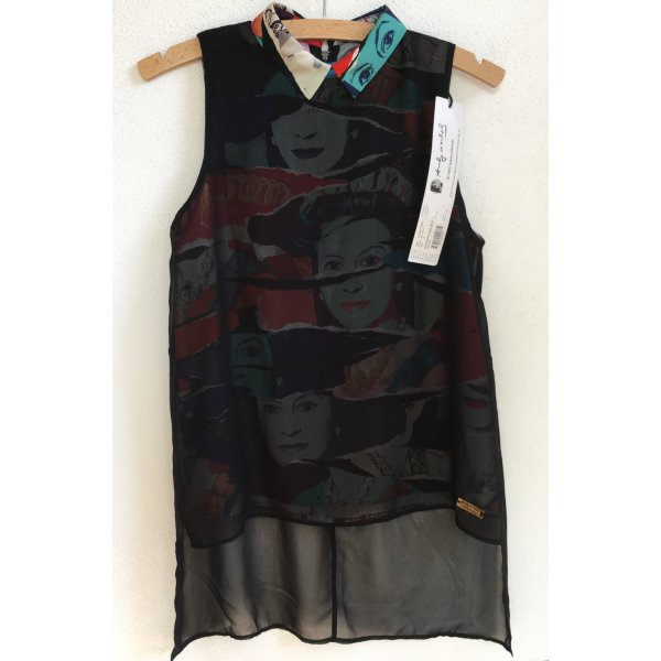 * ANDY WARHOL by PEPE JEANS LONDON * NEU ! ärmellose Bluse  2-lagig bunt Druck schwarz semitransparent Gr S 36
