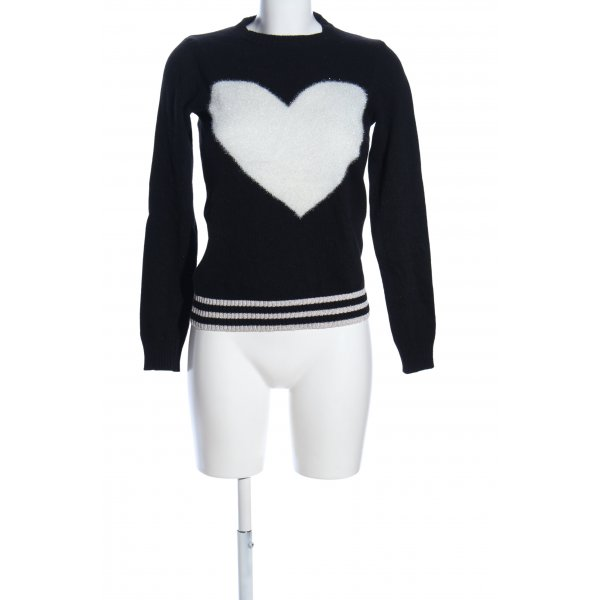 Angela Davis Strickpullover schwarz-weiß Motivdruck Casual-Look