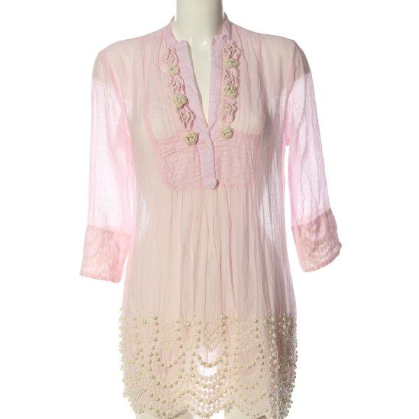 Antica Sartoria Langarm-Bluse pink-wollweiß Elegant