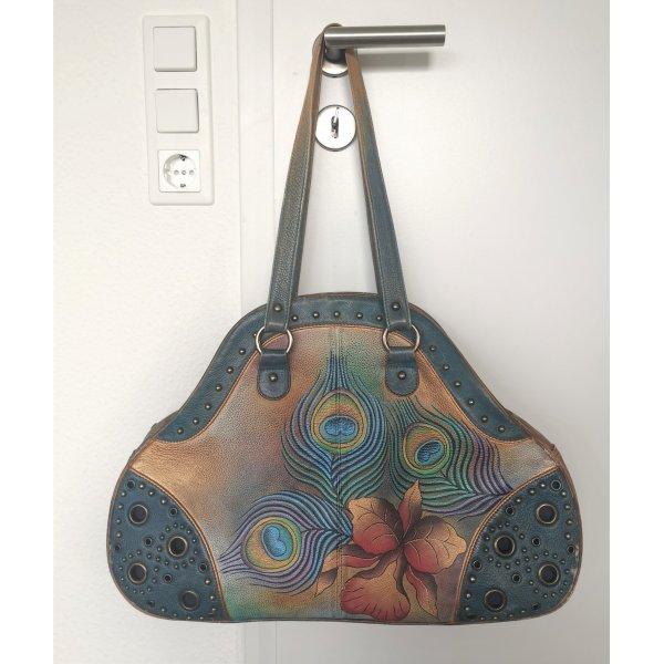 Anuschka Genuine Leather Handtasche handbemalt groß Ledertasche Henkel braun/blau bunt Pfauenfedern Nieten