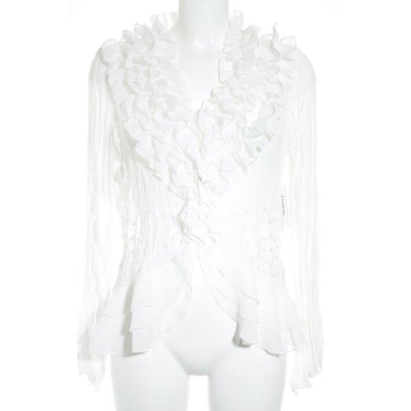 Apanage Ruche blouse wit extravagante stijl