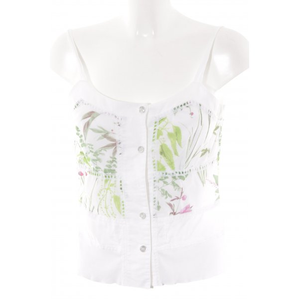 Apanage Spaghettiträger Top florales Muster Materialmix-Look