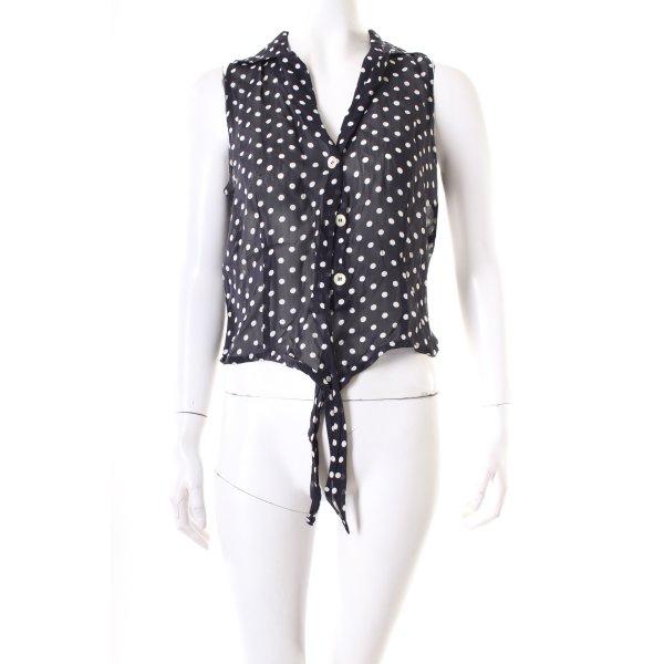 Apart ärmellose Bluse schwarz-weiß Punktemuster Retro-Look