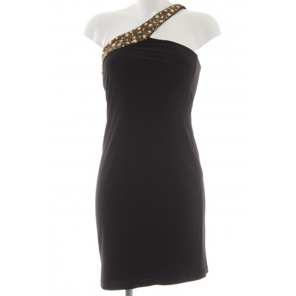 Apart One-Shoulder-Kleid schwarz-goldfarben Elegant