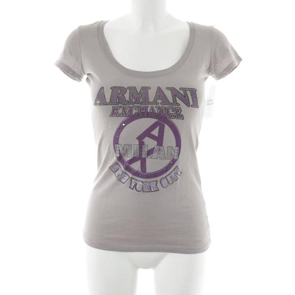 Armani Exchange T-Shirt hellgrau-lila Motivdruck Casual-Look