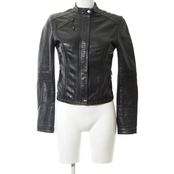 Armani Jeans Bikerjacke schwarz Casual-Look