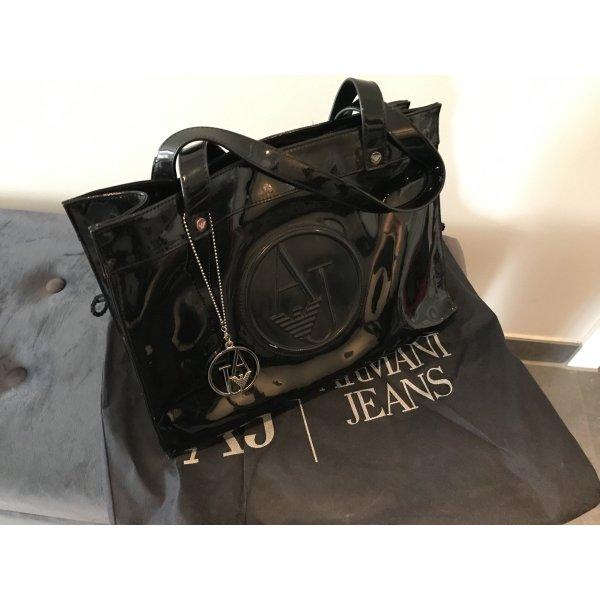 Armani Jeans Handtasche in schwarzem Lackleder
