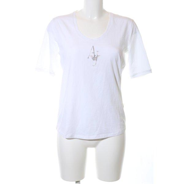 Armani Jeans T-Shirt weiß-silberfarben Schriftzug gedruckt Casual-Look