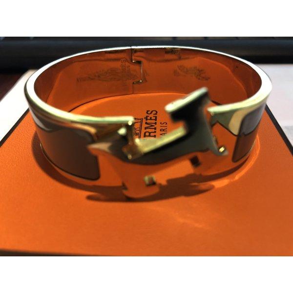 Armband Armreif Hermes Click H Gold-Grau/Marron-Glass/18 PM