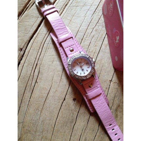 Armbanduhr Chronograph Leder rosa Perlmutt Fossil Edelstahl