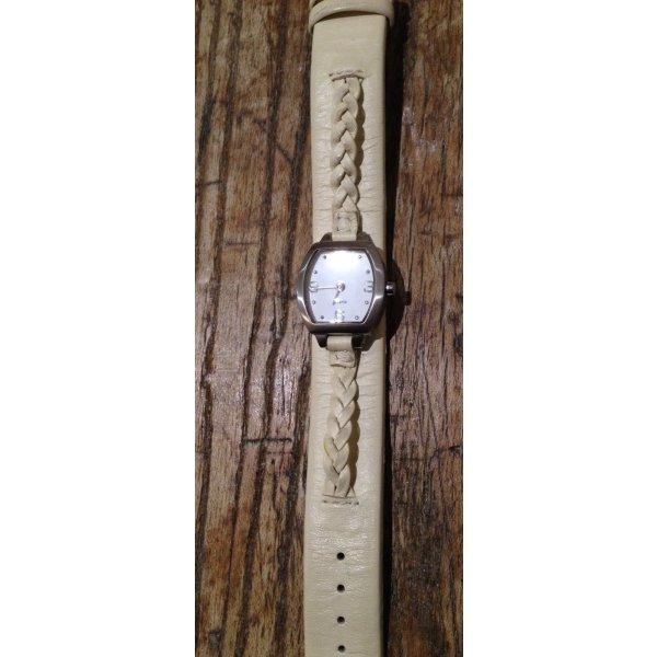 Armbanduhr Lederarmband cremeweiß beige Silber Edelstahl