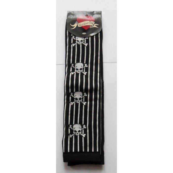 Armstulpen Handschuhe + Skulls schwarz weiß gothic emo OVP Rockabilly