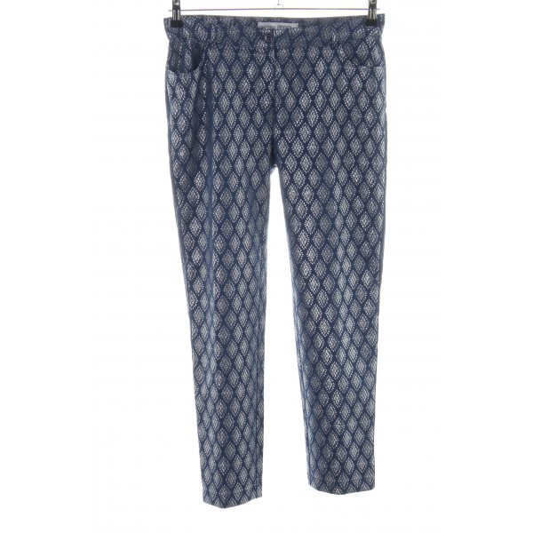 Ashley Brooke Röhrenhose blau-silberfarben grafisches Muster Casual-Look
