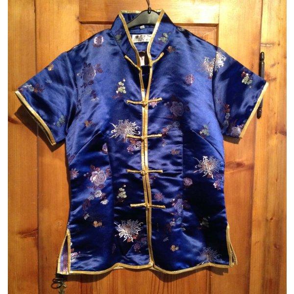 Asia-Shirt T-Shirt Seiden-Shirt Seide blau gold