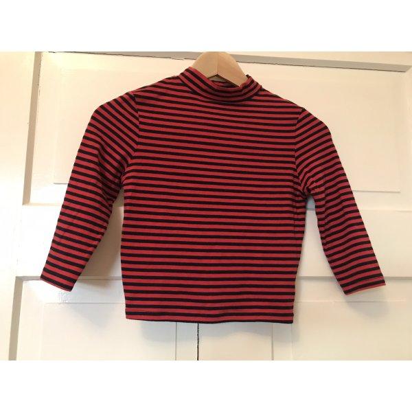 Asos cropped shirt 3/4 Arm 34 rot schwarz gestreift