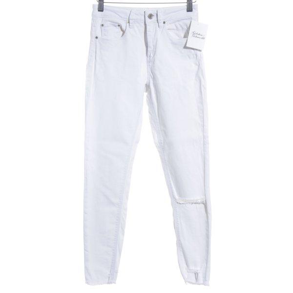 Asos Denim Skinny Jeans weiß-silberfarben Casual-Look