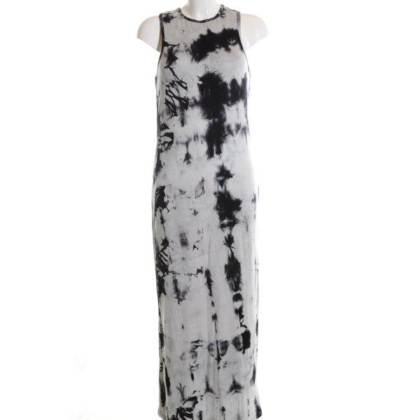 Asos Maxikleid hellgrau-schwarz abstraktes Muster Casual-Look
