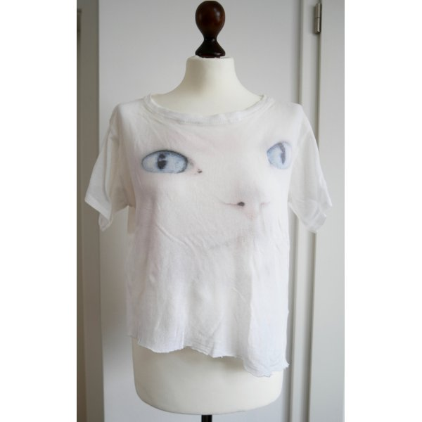 Asymmetrisches T-Shirt in weiß mit Katzenmotiv von Wildfox
