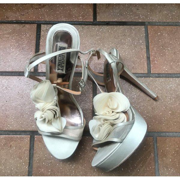 Badgley Mischka Sandale Sandalette Gr 38 (8 M) Braut Hochzeit High Heels Plateau