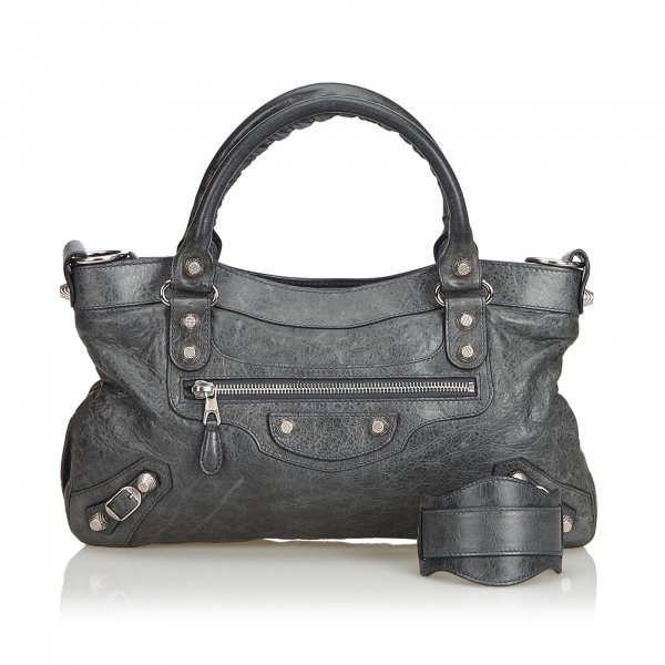 Balenciaga Motocross Leather Giant City Satchel