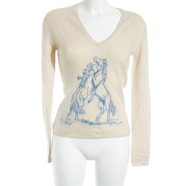 Ballantyne Pull en cashemire beige-bleu style classique