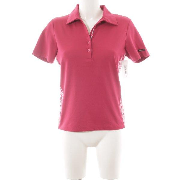 Bally Golf Polo Shirt magenta-white Logo application