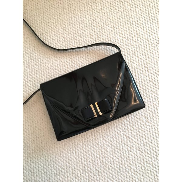 Bally Vintage Tasche, Umhängetasche, Lackleder, Schleife, schwarz
