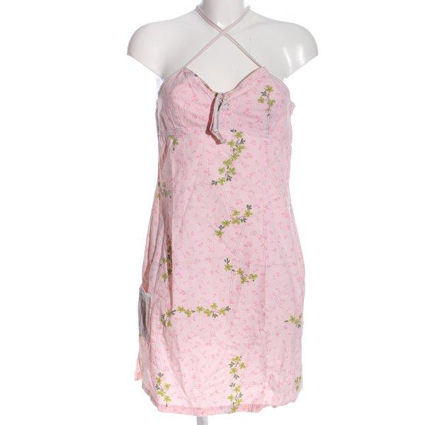 Banana Moon Minikleid pink-grün Blumenmuster Casual-Look