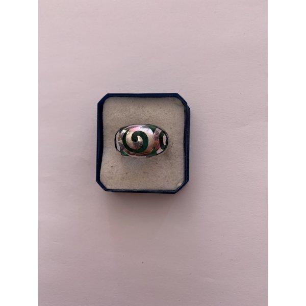 Band Ring Sterling Silber 925 mit grünem Glas im Tribal Motiv