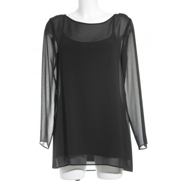 Barbara Schwarzer Langarm-Bluse schwarz Elegant