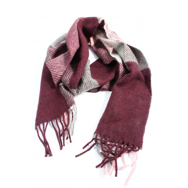 Barbour Fringed Scarf pink-white check pattern casual look