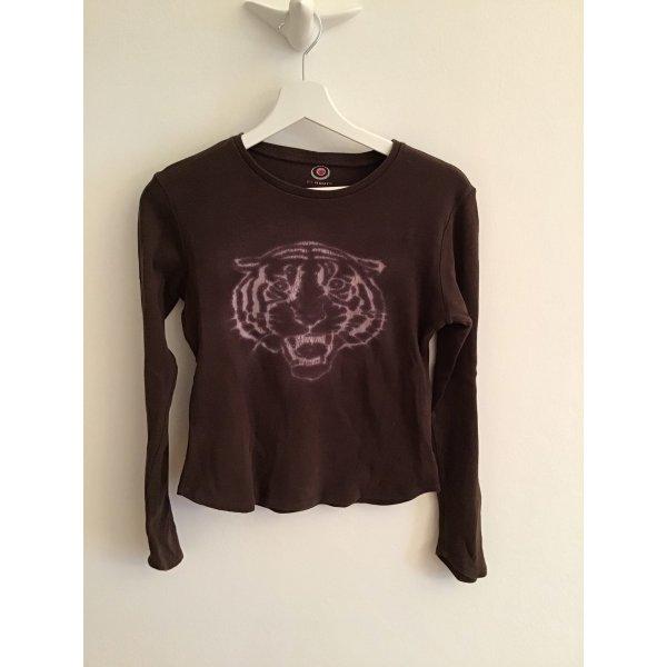 Baumwoll T-shirt, Langarm, Print in dezentem Shimmer