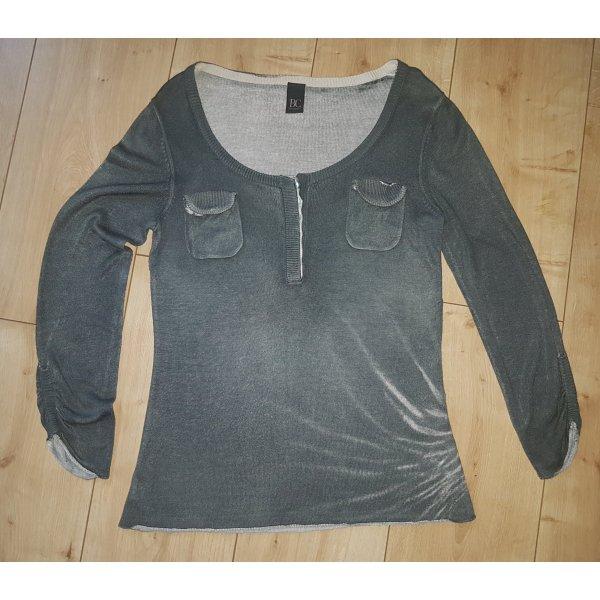 BC Vintage Rundhals Pullover Sweater Army Millitary Look Herbst Winter 3/4 Arm Grün S 36