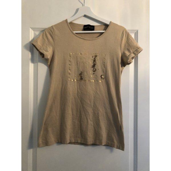 Beige T-Shirt mit goldenem Aufdruck von Impressionen, Gr. M - neuwertig