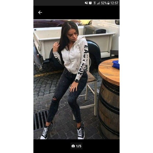 Beliebte Blogger Jeans Hose Zara Grau Schwarz Flecken Kleckse